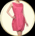 Rirandture 巻きスカート風 チューリップヘムデザイン ミディアムドレス ピンク