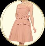 STRAWBERRY-FIELDS ウエストリボン ベアトップ ミディアムドレス ピンク