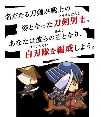 名だたる名刀が戦士の姿となった刀剣男士。