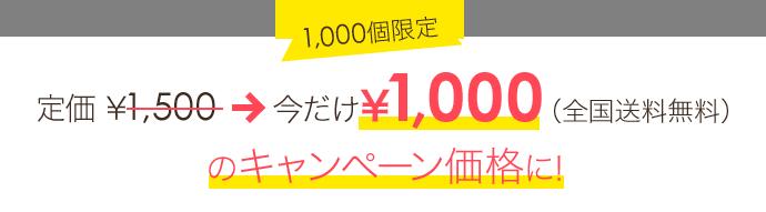 1000個限定 定価1500円が今だけ1000円(全国送料無料)のキャンペーン価格に!