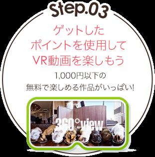 Step.03 ゲットしたポイントを使用してVR動画を楽しもう 1000円以下の無料で楽しめる作品がいっぱい!