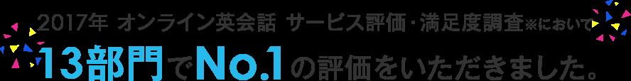 2017年オンライン英会話 サービス評価・満足度調査において、13部門でNo.1の評価をいただきました。