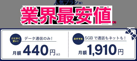 人気プラン業界最安値【データ通信のみ!】月額440円【5BGで通話もネットも!】月額1,910円