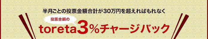 半月ごとの投票金額合計が30万円を超えればもれなく投票金額の3%がtoretaでチャージバック