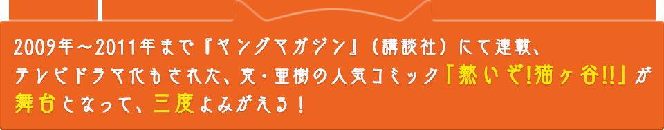 2009年~2011年まで「ヤングマガジン」(講談社)にて連載、テレビドラマ化もされた、克・亜樹の人気コミック『熱いぞ!猫ヶ谷!!』が舞台となって、三度よみがえる!