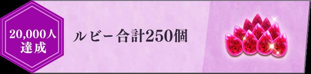 20,000人達成 ルビー合計250個 ガチャ5回分