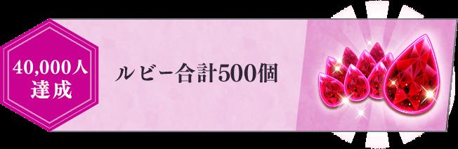 40,000人達成 ルビー合計500個 ガチャ10回分