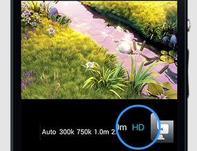 HDボタンでHD画質に切り替え