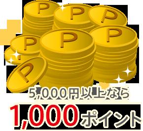 5,000円以上なら:1,000ポイント
