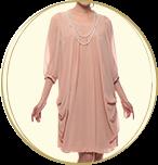 f-mode パールネックレス付き ドレープシルエット ミディアムドレス ピンク