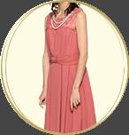 ASHILL 裾フリンジフリル ギャザーミニドレス ピンク