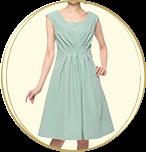 UNITED ARROWS フロントギャザー ノースリーブワンピース ミディアムドレス ライトブルー