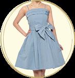 STRAWBERRY-FIELDS ウエストリボン ベアトップ ミディアムドレス ライトブルー