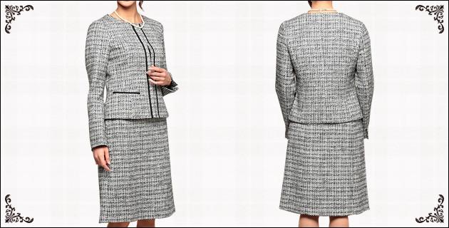 インディヴィ ノーカラー 飾りテープ ツイード スカートスーツ グレー