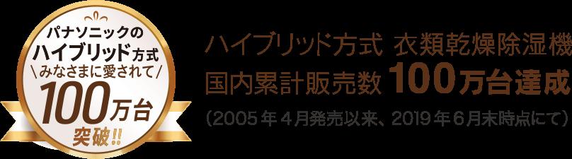 ハイブリッド方式 衣類乾燥除湿機 国内累計販売数100万台達成 (2005年4月発売以来、2019年6月末時点にて)