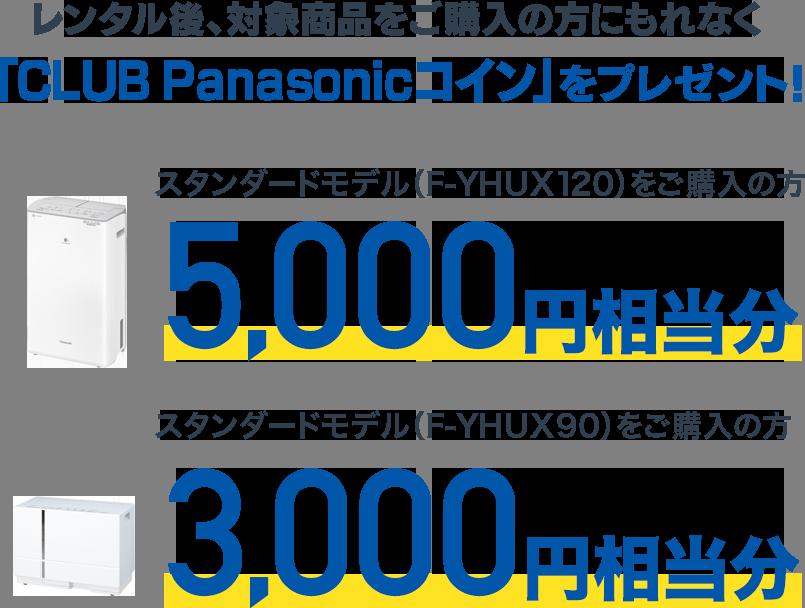 レンタル後、対象商品をご購入の方にもれなく「CLUB Panasonicコイン」をプレゼント!
