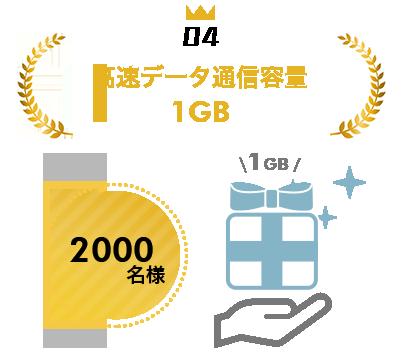 1GB容量付与 2000名様