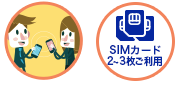 SIMカード2~3枚ご利用