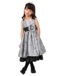 【キッズ】 フラワーライン ロングドレス グレー
