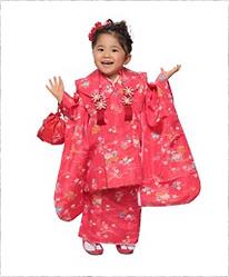 【キッズ】七五三/節句 3才 被布セット 水玉模様 小花 ピンク