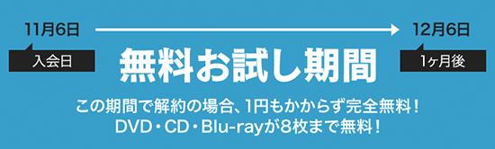 無料お試し期間 この期間で解約の場合、1円もかからず完全無料!DVD・CD・Blu-rayが8枚まで無料!